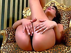 Brunette dana Weyron in black panties masturbating