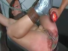 Waxed Pierced and flogged Pussy
