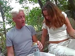 Round brunette bitch is pounded in her tight wet pussy out