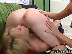 Threesome lesbian licking and rimjob