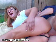nasty granny gets her ass banged in the backyard