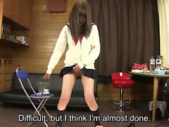 Subtitled Japanese schoolgirl pee desperation game in HD