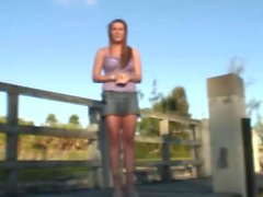 Pretty babe satisfies a dick outdoors