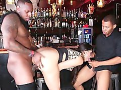 Bigtitted milf cocksucking black dick in trio