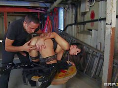 Brunette India Summer gets banged rough by Keiran Lee