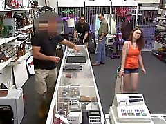 Babe Jenny gets fucked hard by huge cock in pawn shop