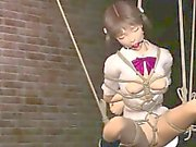 Pigtailed 3D anime slave gives fellatio