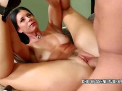 Mature hottie India Summer takes a cock in her wet pussy