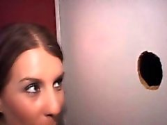 Real whore wife swallows at gloryhole
