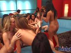 Intense orgy session with seductive lesbian chicks