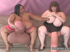 Kinky cuties drill the biggest strap dildos and spray cream