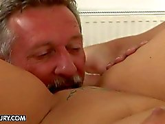 Short haired milf gets licked and boned by her boss