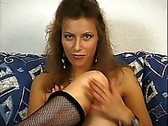 fishnet mask and red stockings