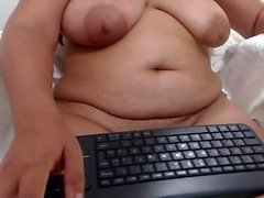 BBW plays with her big boobs