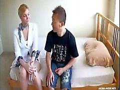 AMWF White Girl Masseuse interracial with Asian guy