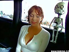 Short haired hottie gets picked up by a van
