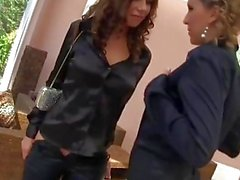 Classy lesbian couple joined by pissing pals