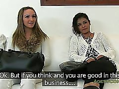 Lesbian amateurs fucked by fake agent on casting