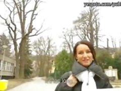 Skinny black haired Czech girl picked up and nailed for money