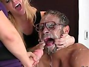 Chicks shag dudes butt hole with huge strap-on dildos and sq