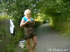 Flashing blonde babe Lenas highway masturbation and public nudity from her car