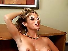 Busty secretary banging on a chair and get cream