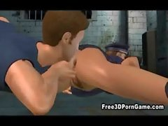 Foxy 3D cartoon cop sucking cock and getting fucked