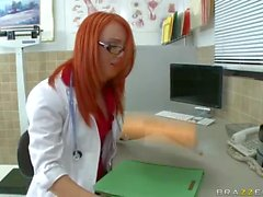 Red haired glassed doctor Dani Jensen licks a dick