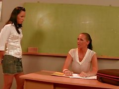 Mandy Bright slutty teacher talking with hot student