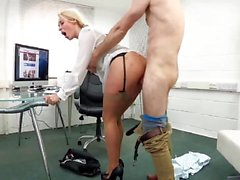 Blonde in stockings gets it in office