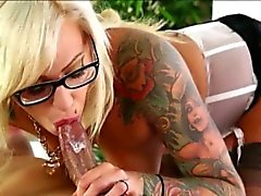 Inked masseuse Vyxen Steel pounded and swallows cum