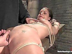 Bondage babe Mia Bangg is tied up and tormented