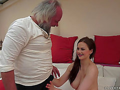 Concupiscent old man stunned by her date's gal acquires a fleshly cook jerking untill that guy cums