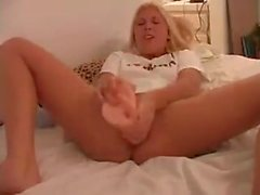 masturber, grande le dildo -, brosse à cheveux, hairbrush-in-pussy, énorme gode-in-pussy