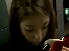 Hot office Chinese girl footjob boy in public place