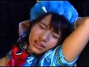 Masked Japanese supergirl in a sexy blue outfit gets used a