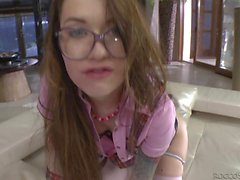 Cute brunette with glasses Misha Cross gags on Rocco's big
