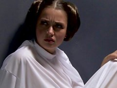 Allie haze in white boots masturbates in Star Wars Porn parody