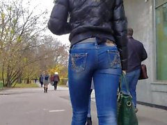 nice blonde with round ass in jeans