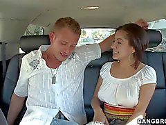 busty brunette vanessa teases handsome dude at casual lunch