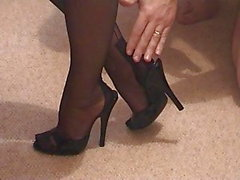 Girlfriend's Feet in Mules and FF Nylons
