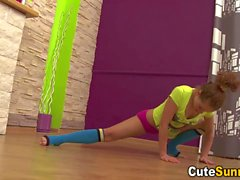Hot naked teeny bending over and doing the splits