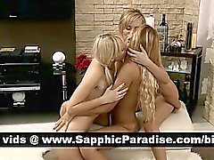 Naughty blonde lesbians fingering and licking pussy in a three way lesbian orgy