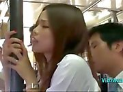 Asian Girl Getting Her Ass Rubbed With Cock While Standing On The Bus Cum To Trouser