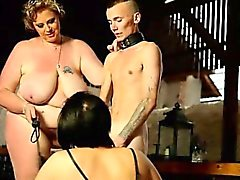 Super-sized dominas prefer skinny male slaves