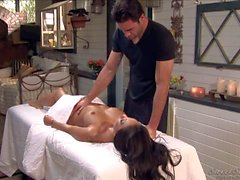 Dark haired Asa enjoys in her massage
