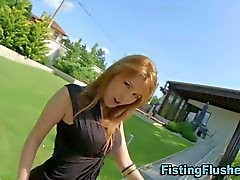 Fetish bitch outdoors shows off