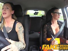 Fake Driving School Strap on fun for new big tits driver