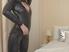 Latex catsuit dance off