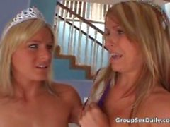 Two beauty queens fucked hardly by two